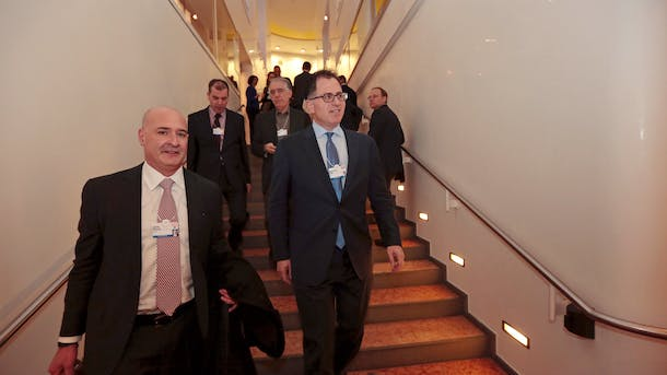 Salesforce COO Keith Block, left, with Michael Dell at the World Economic Forum in Davos last year. Photo by Bloomberg.
