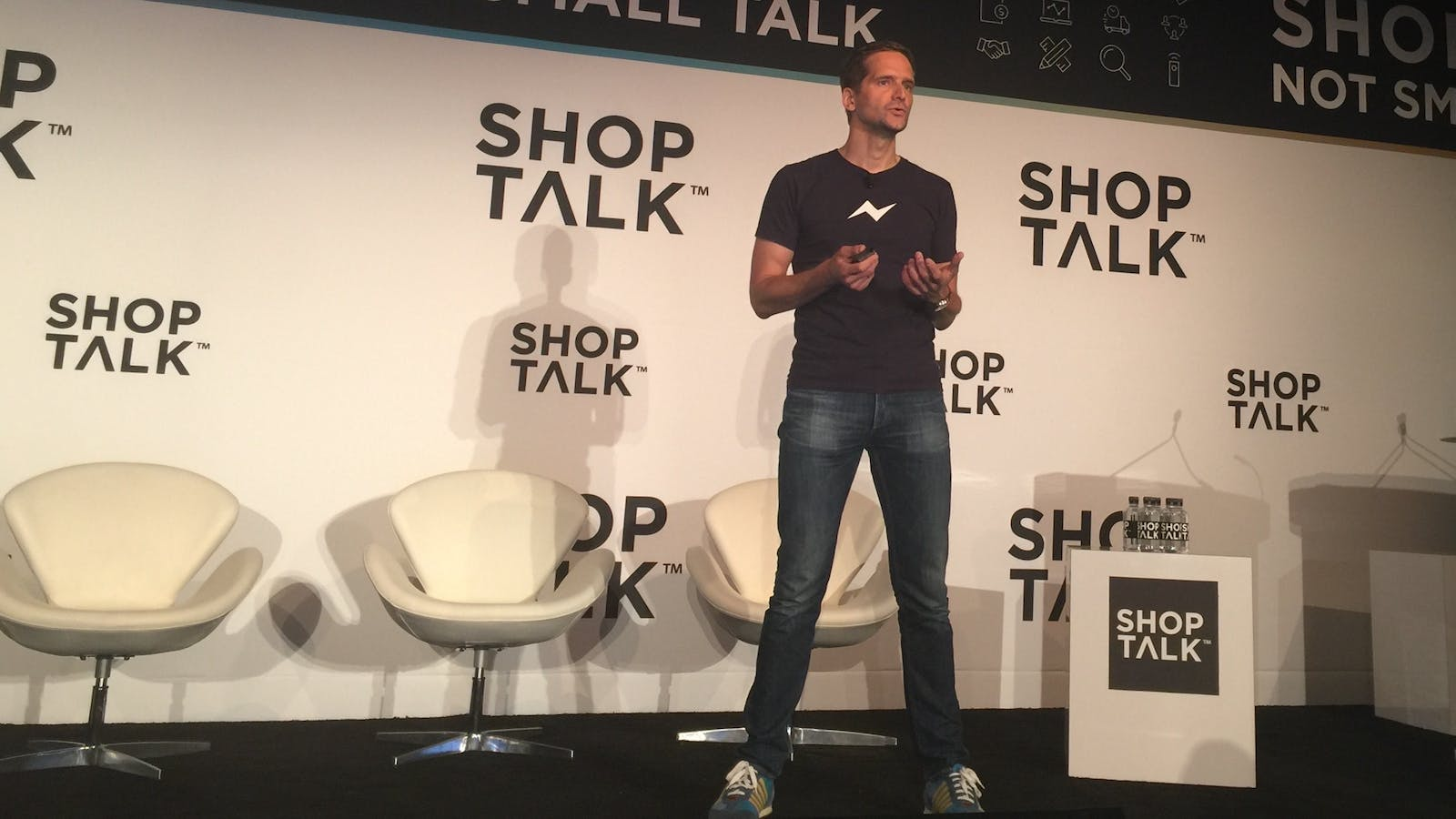 Frerk-Malte Feller, head of business and monetization at Facebook Messenger, speaking at a presentation at the Shoptalk e-commerce conference this month. Photo by Cory Weinberg.