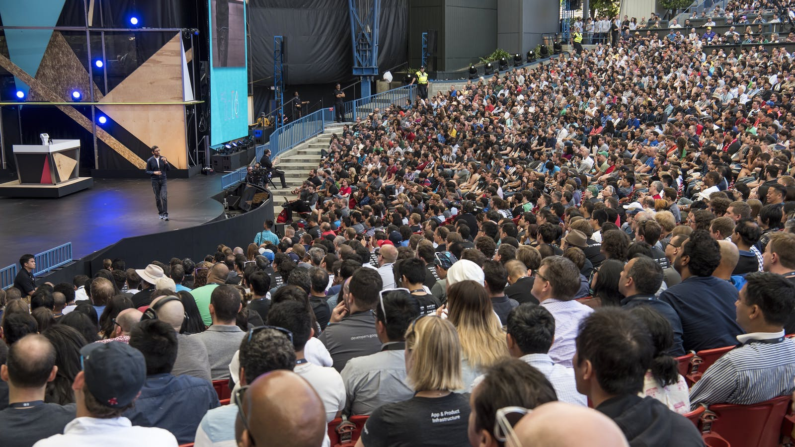 Google CEO Sundar Pichai on stage at Google I/O this month. Photo by Bloomberg.