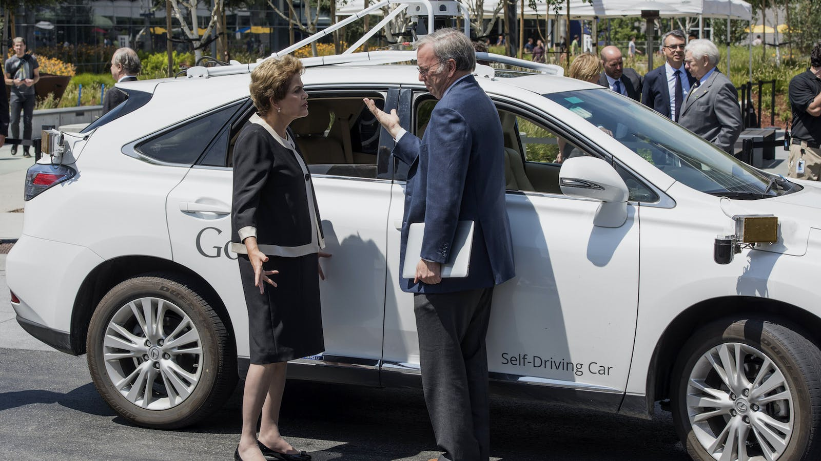 Google's self-driving car system attached to a Lexus, 2015.