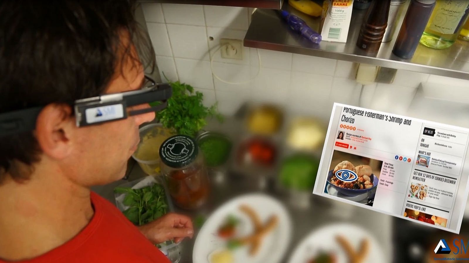 An artist's rendering of SMI's eye-tracking technology in AR glasses. Image courtesy of SMI.