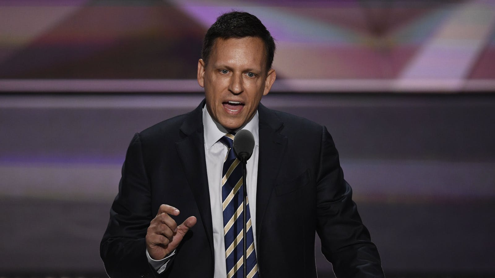 Peter Thiel speaking at the RNC. Photo by Bloomberg.