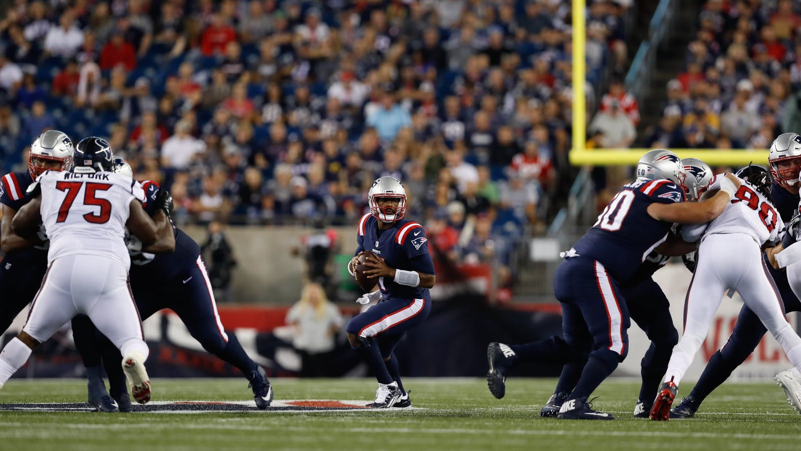 New England Patriots playing Houston Texans on Sept. 22, a game streamed on Twitter. Photo by AP.