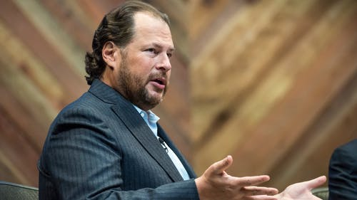 Salesforce CEO Marc Benioff at last year's Dreamforce conference. Photo by Bloomberg.