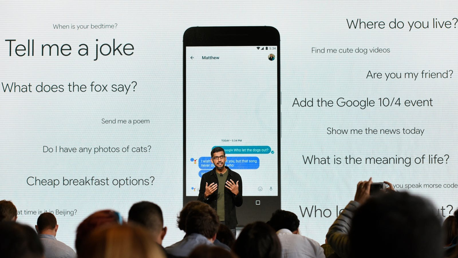 Google CEO Sundar Pichai discussing Google's new Pixel smartphone and its virtual assistant at Tuesday's launch event. Photo by Bloomberg.
