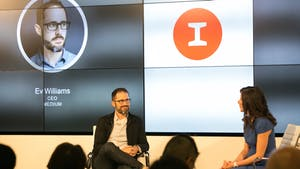 Medium CEO and Twitter co-founder Evan Williams talking with The Information's Jessica Lessin on Friday. Photo by Julie Mikos.