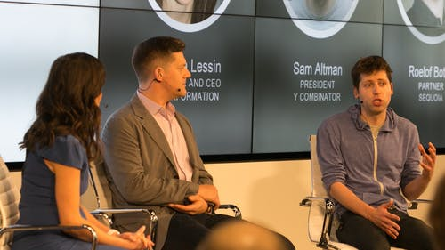 The Information's Jessica Lessin, Sequoia Capital partner Roelof Botha and Y Combinator president Sam Altman. Photo by Julie Mikos.