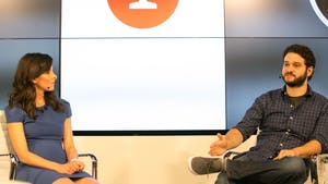 The Information's Jessica Lessin with Asana co-founder Dustin Moskovitz. Photo by Julie Mikos.