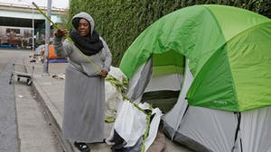 San Francisco's Prop. Q would enact a stricter ban on tents on public sidewalks. Photo by AP.