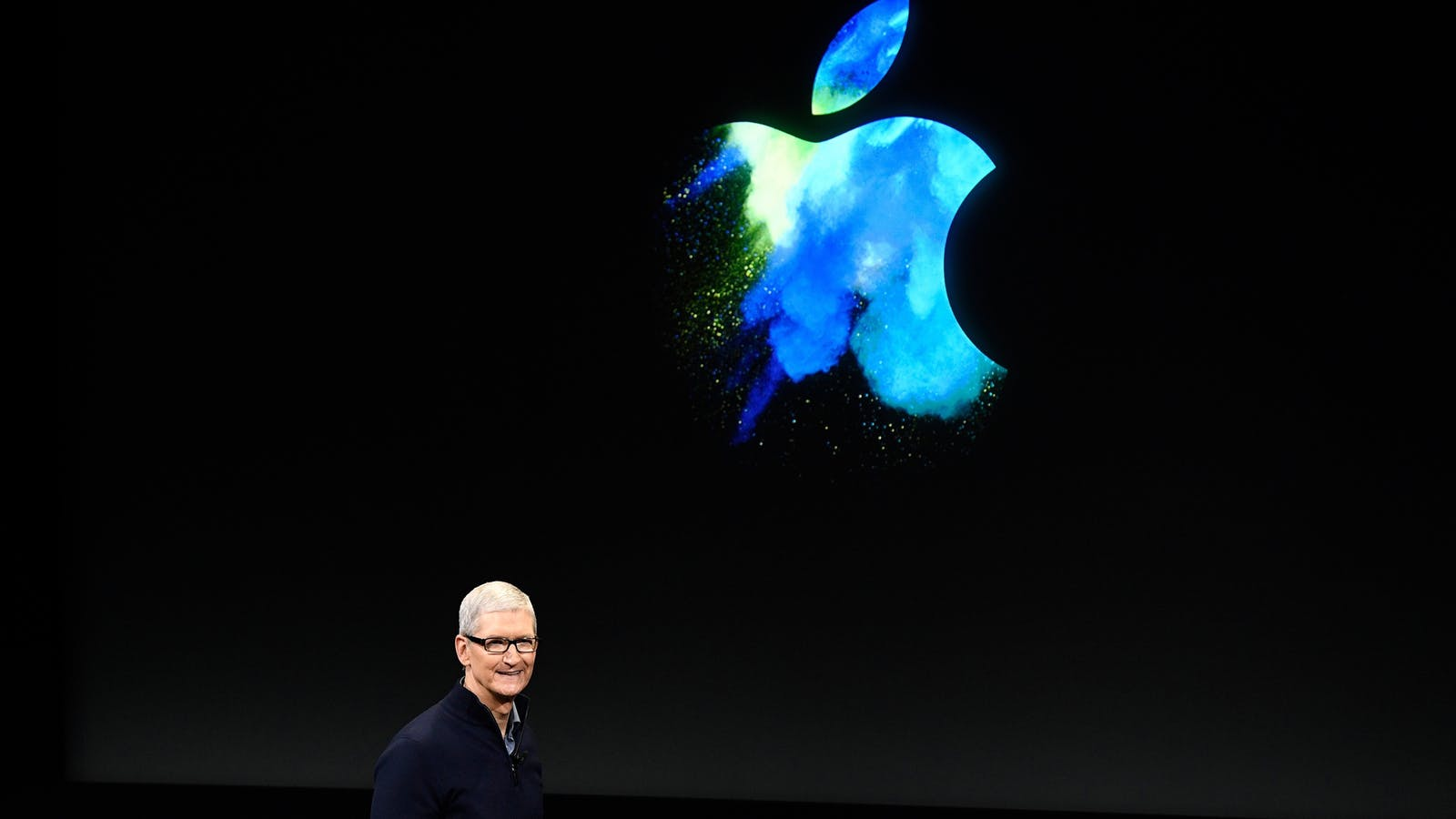 Apple CEO Tim Cook at a MacBook event on Thursday. Photo by Bloomberg.
