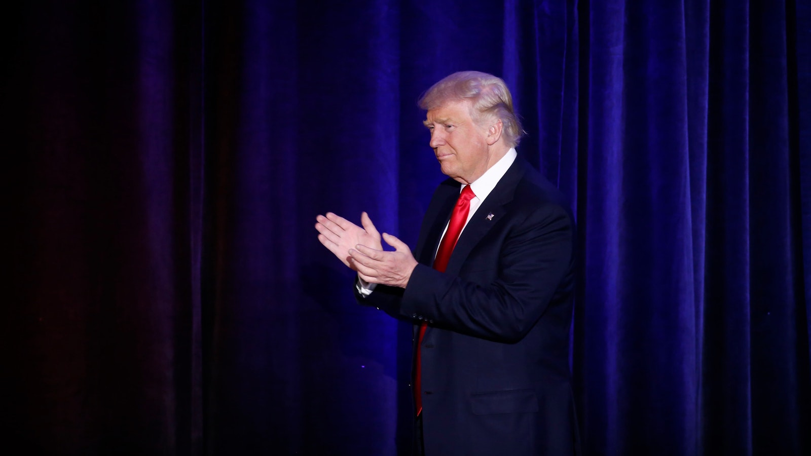 President-elect Trump arriving on stage during an election night party in New York on Tuesday night. Photo by Bloomberg.