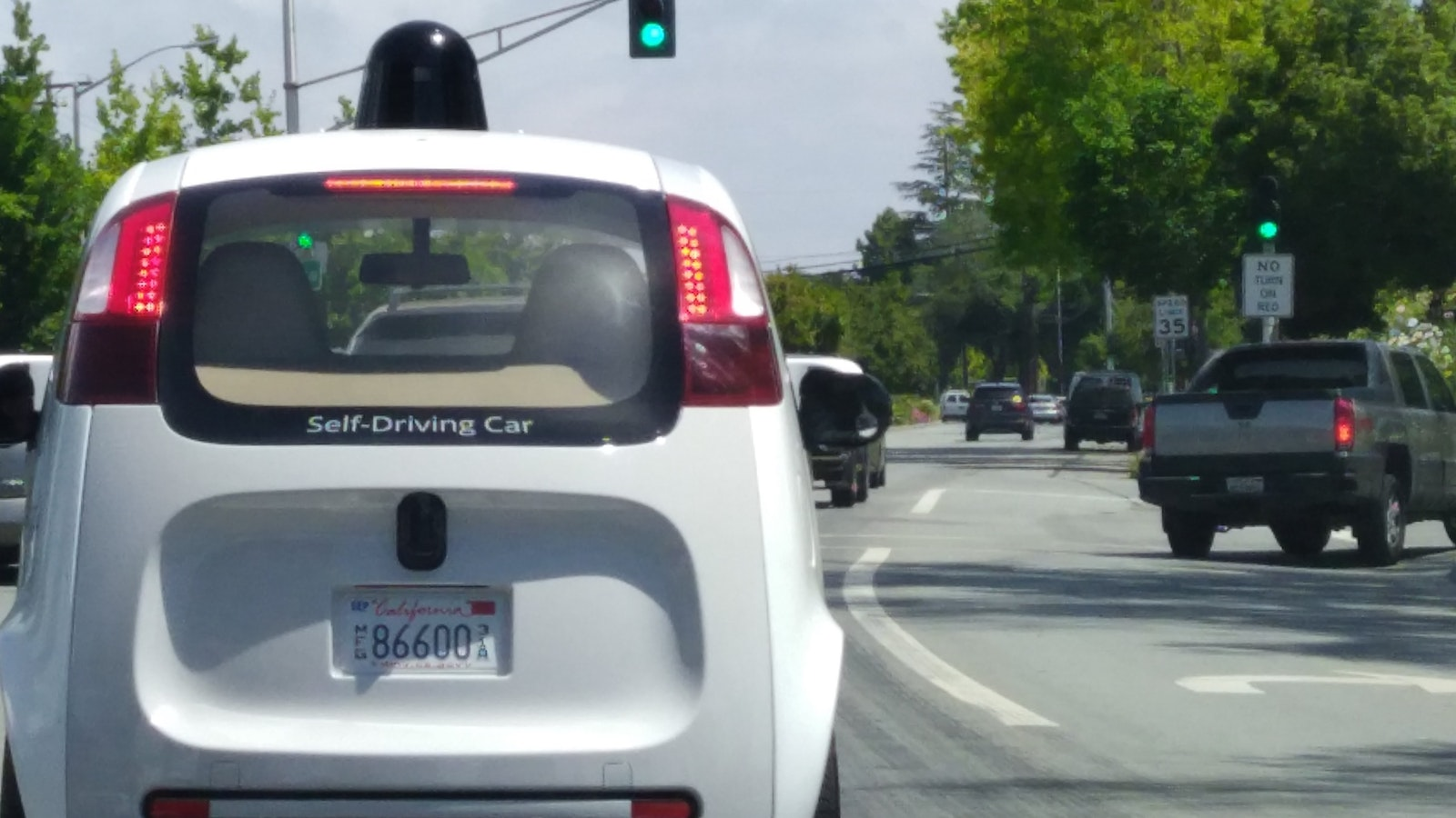 A Google self-driving car on the road in Mountain View, Calif. Photo by Amir Efrati.