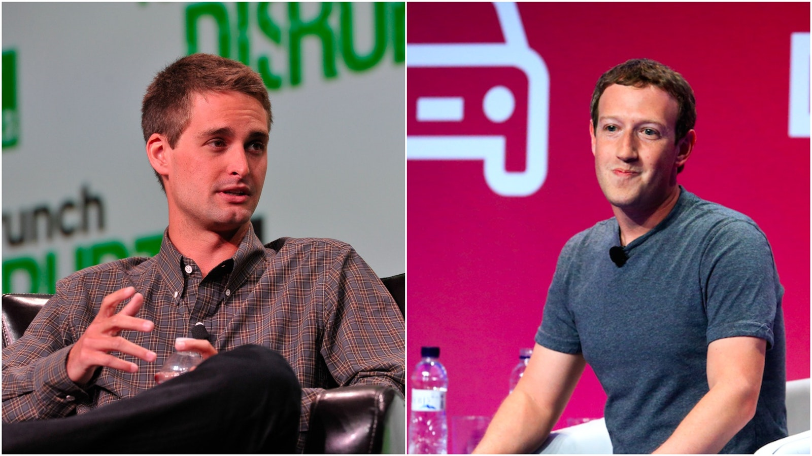 Snap CEO Evan Spiegel and Facebook CEO Mark Zuckerberg. Photo by Flickr/TechCrunch and Bloomberg.