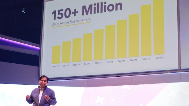 Snap's chief strategy officer, Imran Khan, in September. Photo by Bloomberg.