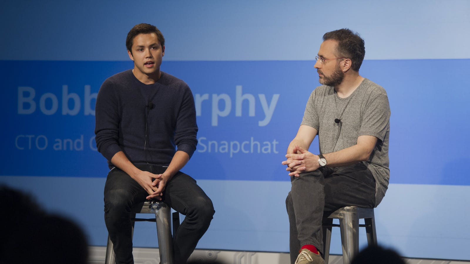 Snap co-founder Bobby Murphy (left) and Google's Urs Hölzle in 2014. Photo by Bloomberg.