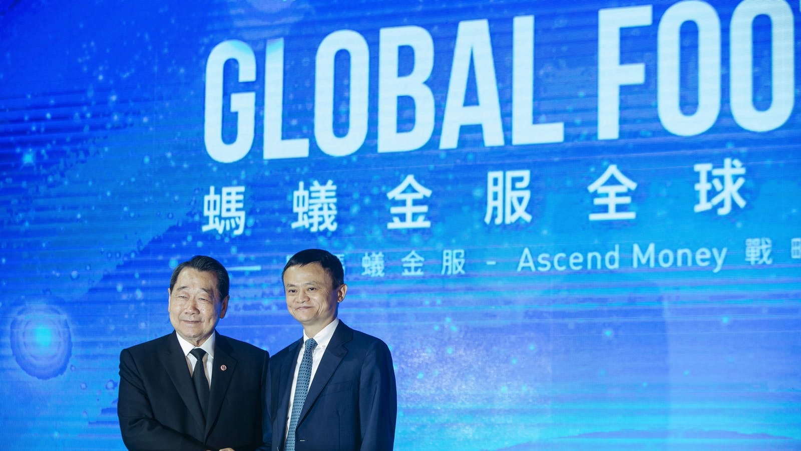 Charoen chairman Dhanin Chearavanant with Alibaba chairman Jack Ma in November. Photo by Bloomberg.