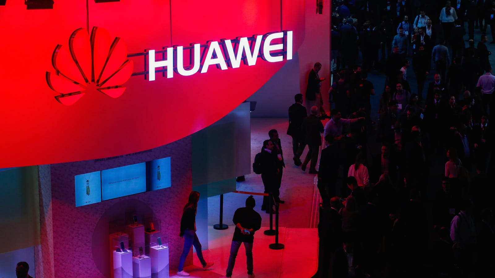 Huawei's booth at the Mobile World Congress last month in Barcelona. Photo by Bloomberg.