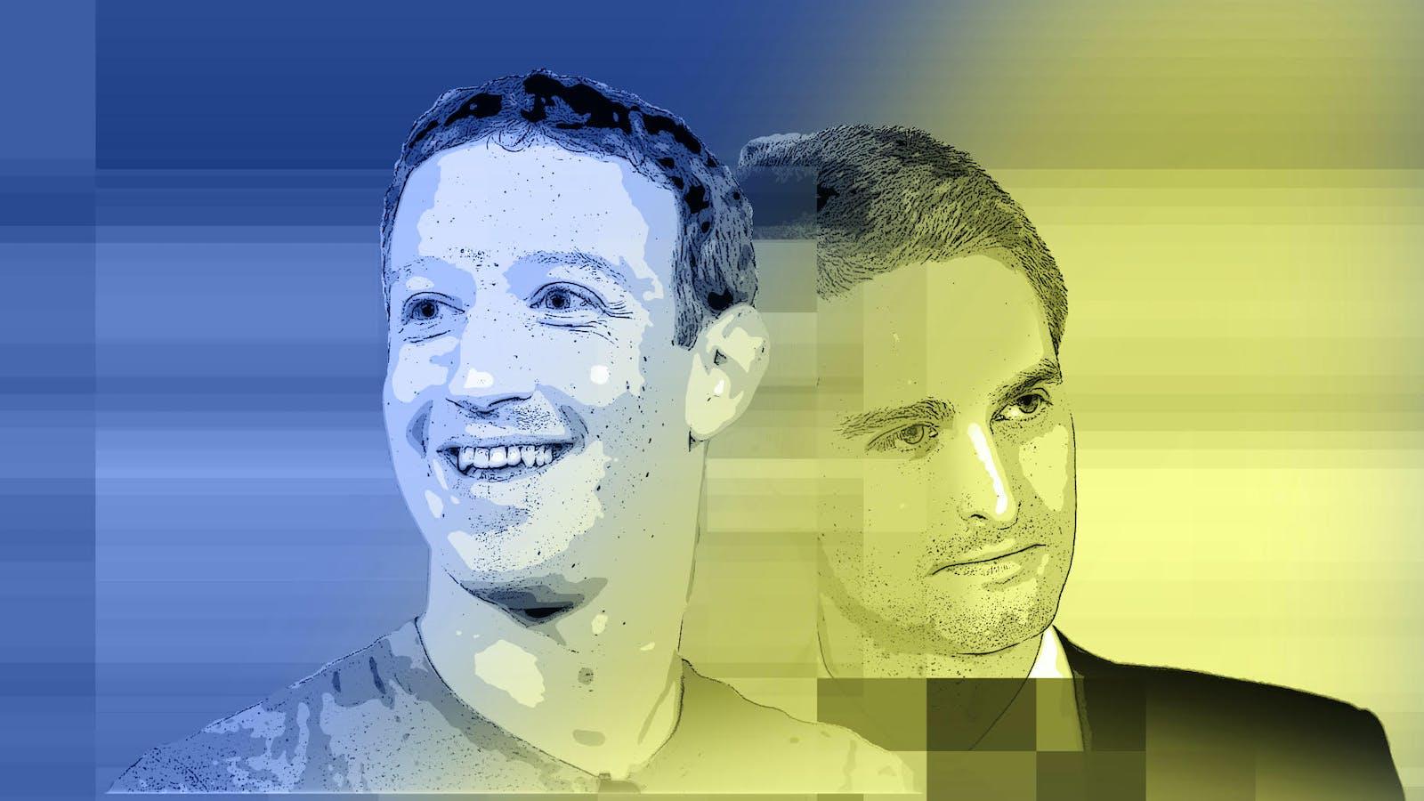 Facebook CEO Mark Zuckerberg and Snap CEO Evan Spiegel. Art by Matt Vascellaro.
