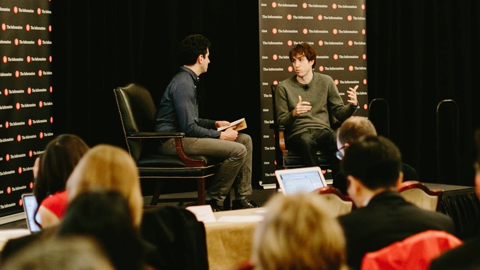Quora CEO Adam D'Angelo talking with The Information's Tom Dotan at The Information's NYC Subscriber Summit on Tuesday. Photo by Karen Obrist