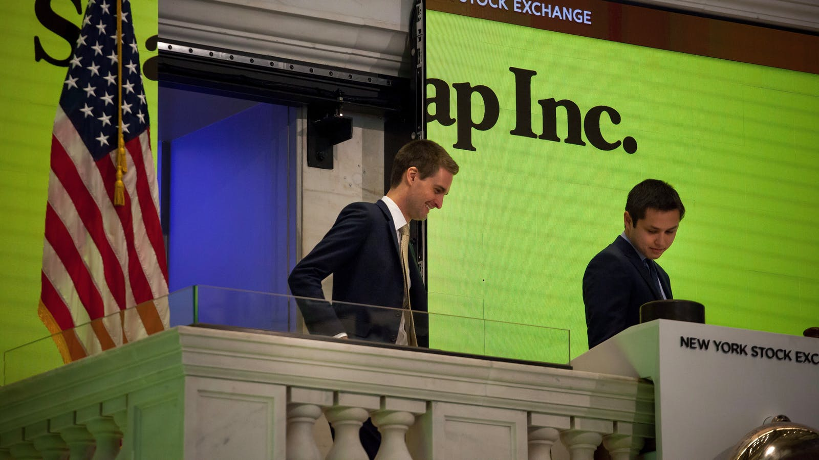 Snap CEO Evan Spiegel and co-founder Bobby Murphy at the New York Stock Exchange when Snap went public earlier this year. Photo by Bloomberg.