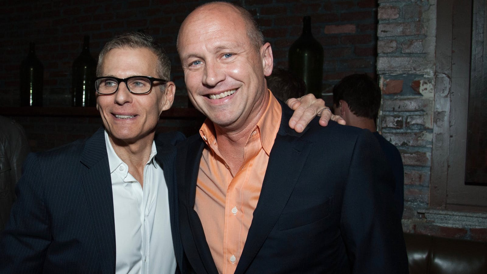 HBO's former programming chief Michael Lombardo with Silicon Valley producer Mike Judge. Photo by AP.