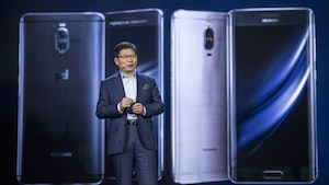 Huawei's consumer electronics division chief Richard Yu at CES this January. Photo by Bloomberg.