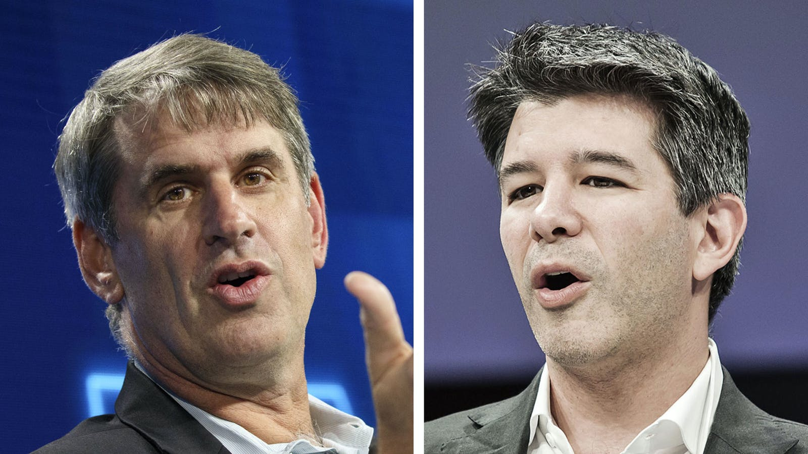 Benchmark partner Bill Gurley (left) and former CEO Travis Kalanick. Photos by Bloomberg.