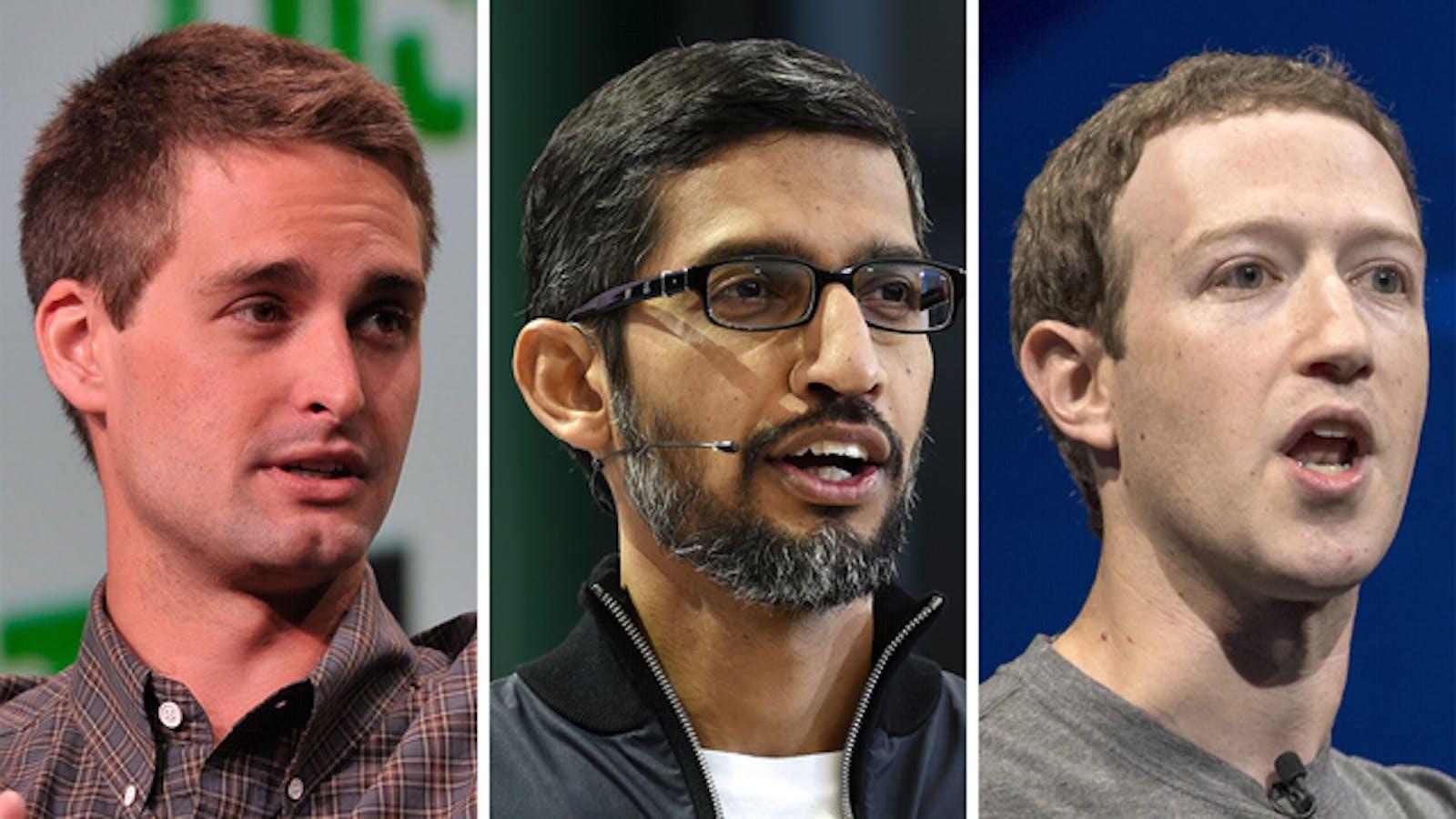 Snap's Evan Spiegel, Google's Sundar Pichai and Facebook's Mark Zuckerberg. Photos by Flickr/TechCrunch; Bloomberg.