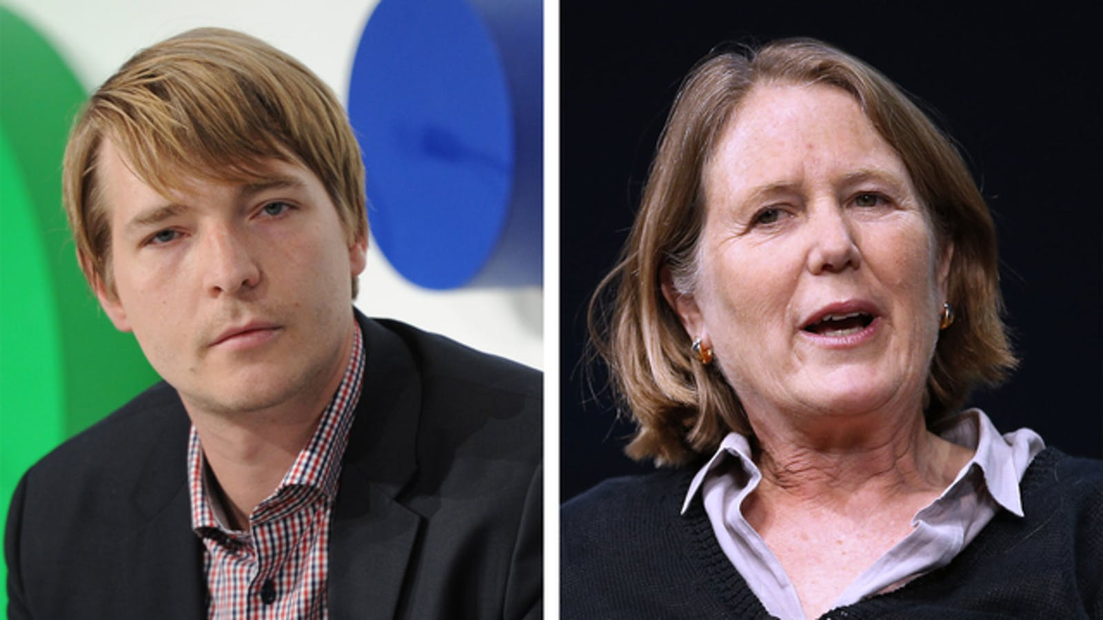 Mesosphere CEO Florian Leibert and Google Cloud chief Diane Greene. Photos: AP and Bloomberg