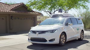 A Chrysler Pacifica outfitted with Waymo self-driving technology in the Phoenix area. Photo: Waymo.