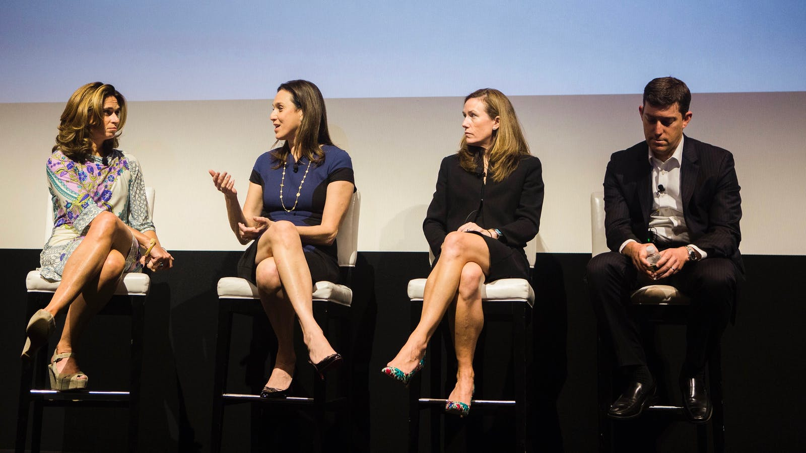 Serena Saitto talking with Michael Katz, AJ Murphy and David Ludwig at the Future of Finance event in New York. Photo by Gabriela Bhaskar.
