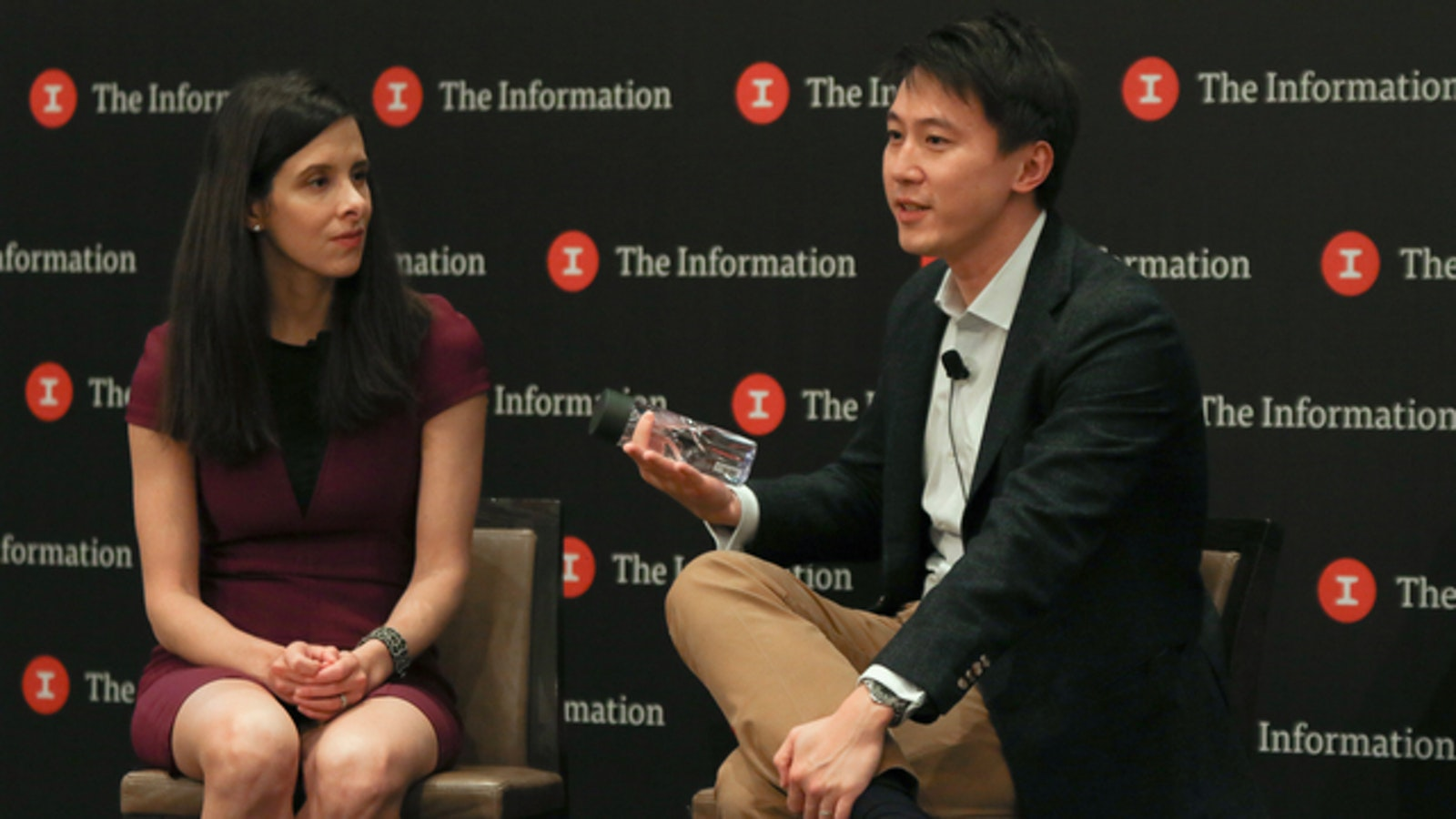 The Information's editor in chief Jessica Lessin with Xiaomi CFO Shou Zi Chew. Photo by Derry Ainsworth