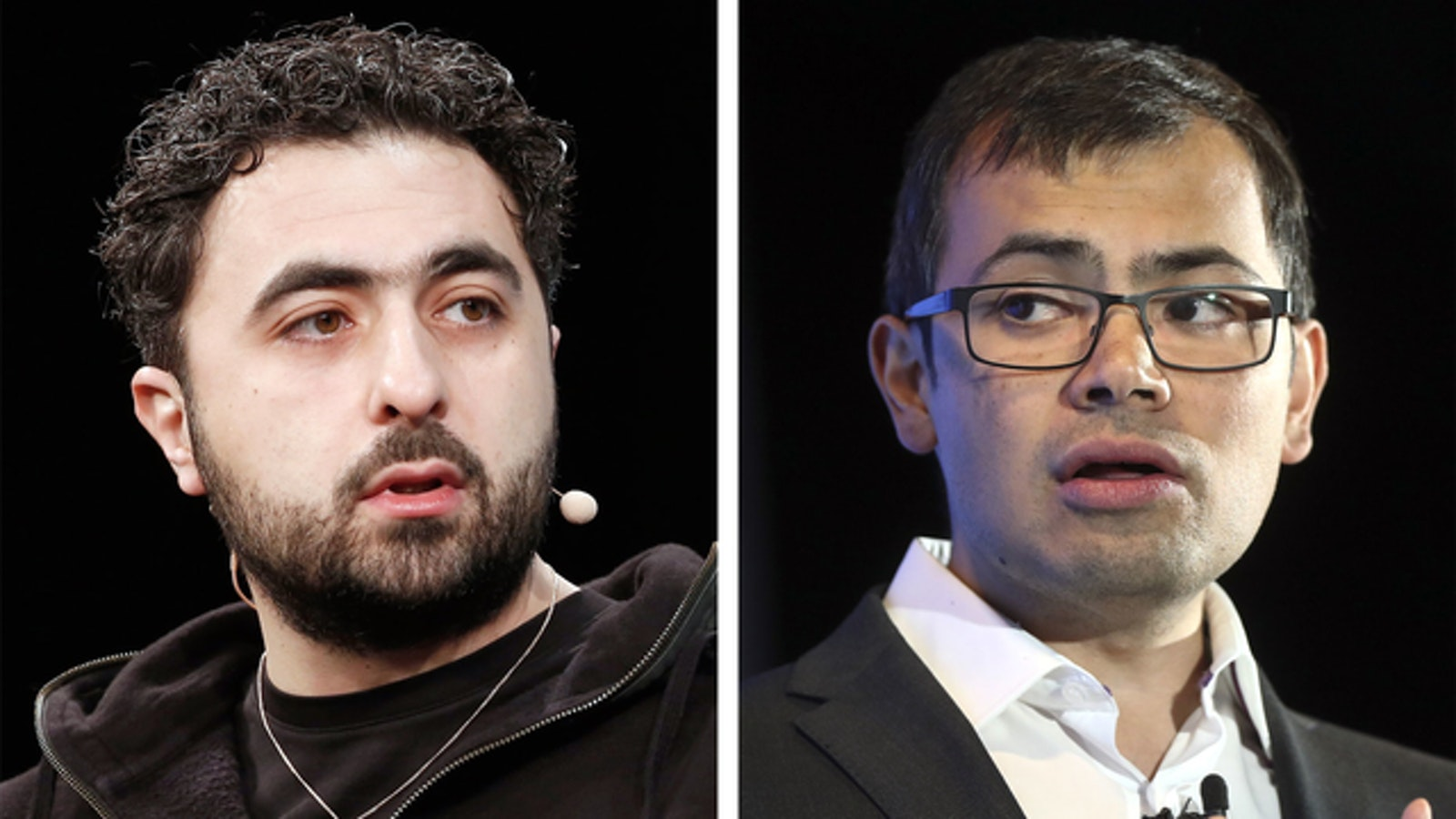 DeepMind co-founders Mustafa Suleyman and Demis Hassabis. Photos by Bloomberg and Flickr/TechCrunch.