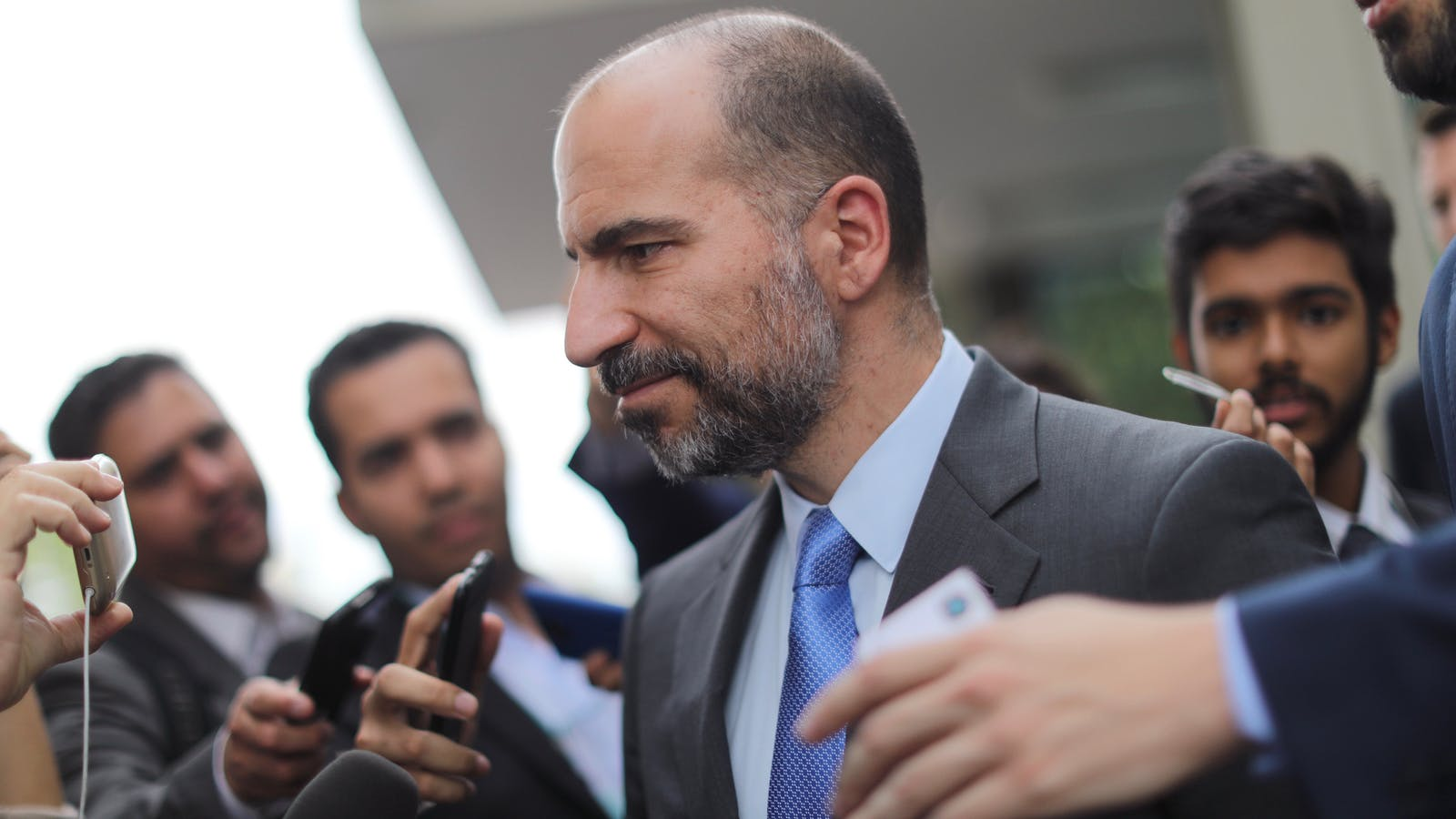 Uber CEO Dara Khosrowshahi after a meeting with Brazil's Finance Minister last month. Photo by Bloomberg.