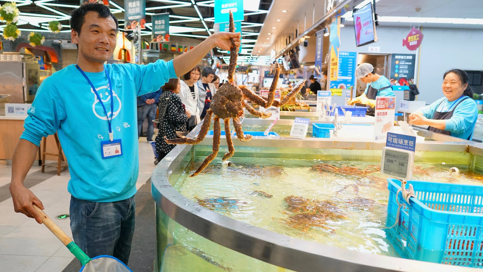 The seafood section of Alibaba's Hema grocery store in Shanghai. Photo by Juro Osawa.