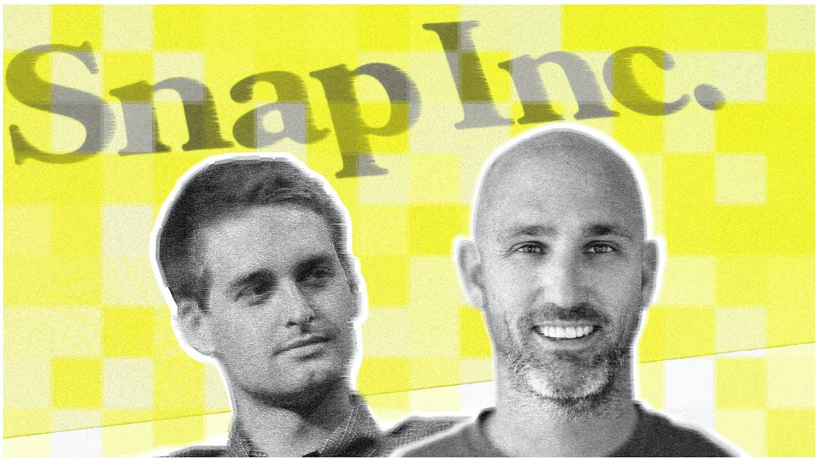 Snap CEO Evan Spiegel and People VP Jason Halbert. Art by Mike Sullivan