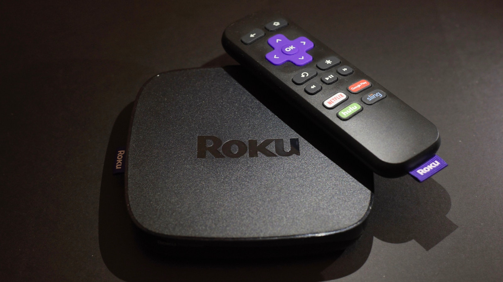 A Roku streaming device and remote control. Photo by AP