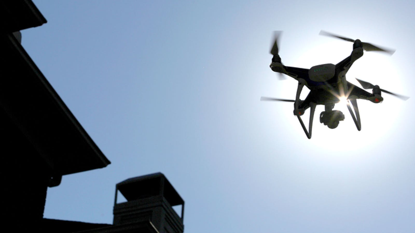 A DJI Phantom drone being flown in Texas last year. Photo by Bloomberg.