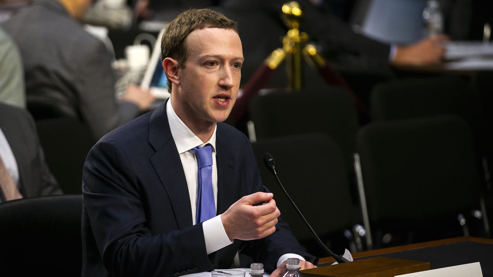 Facebook CEO Mark Zuckerberg testifying before Congress on Tuesday. Photo by Bloomberg.