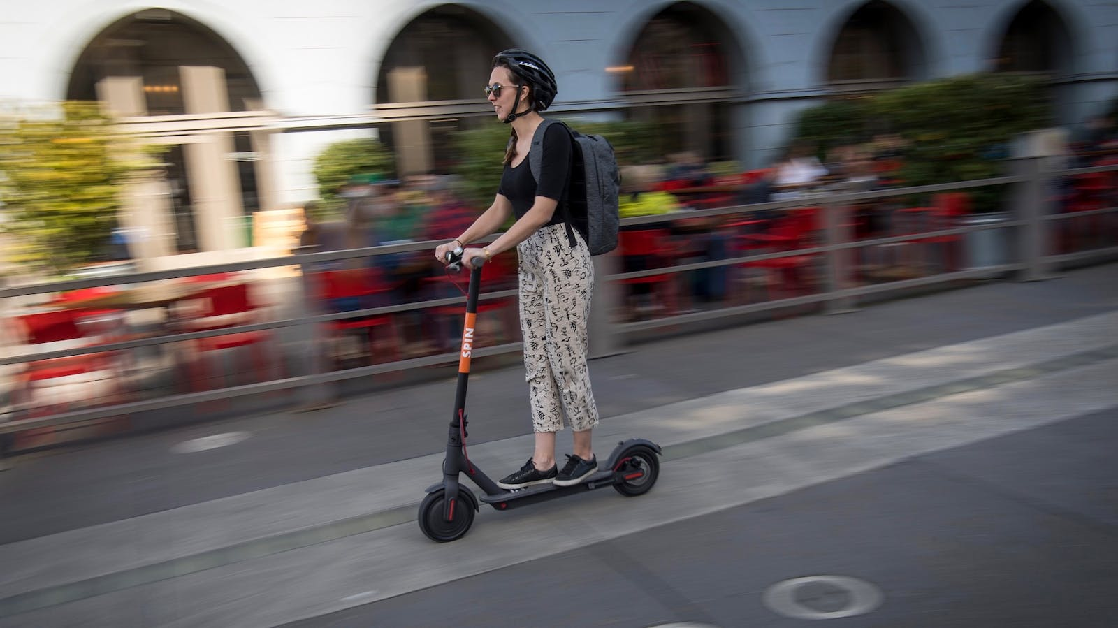 A person riding a scooter in San Francisco last week. Photo: Bloomberg
