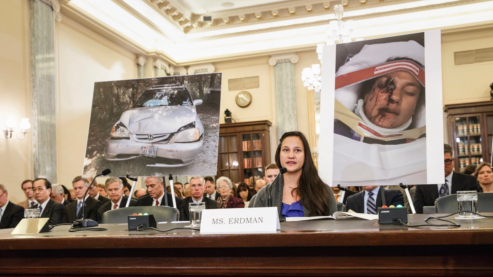 Stephanie Erdman, who was injured when a Takata airbag blew up, testifies before Congress in 2014. Photo by the AP.