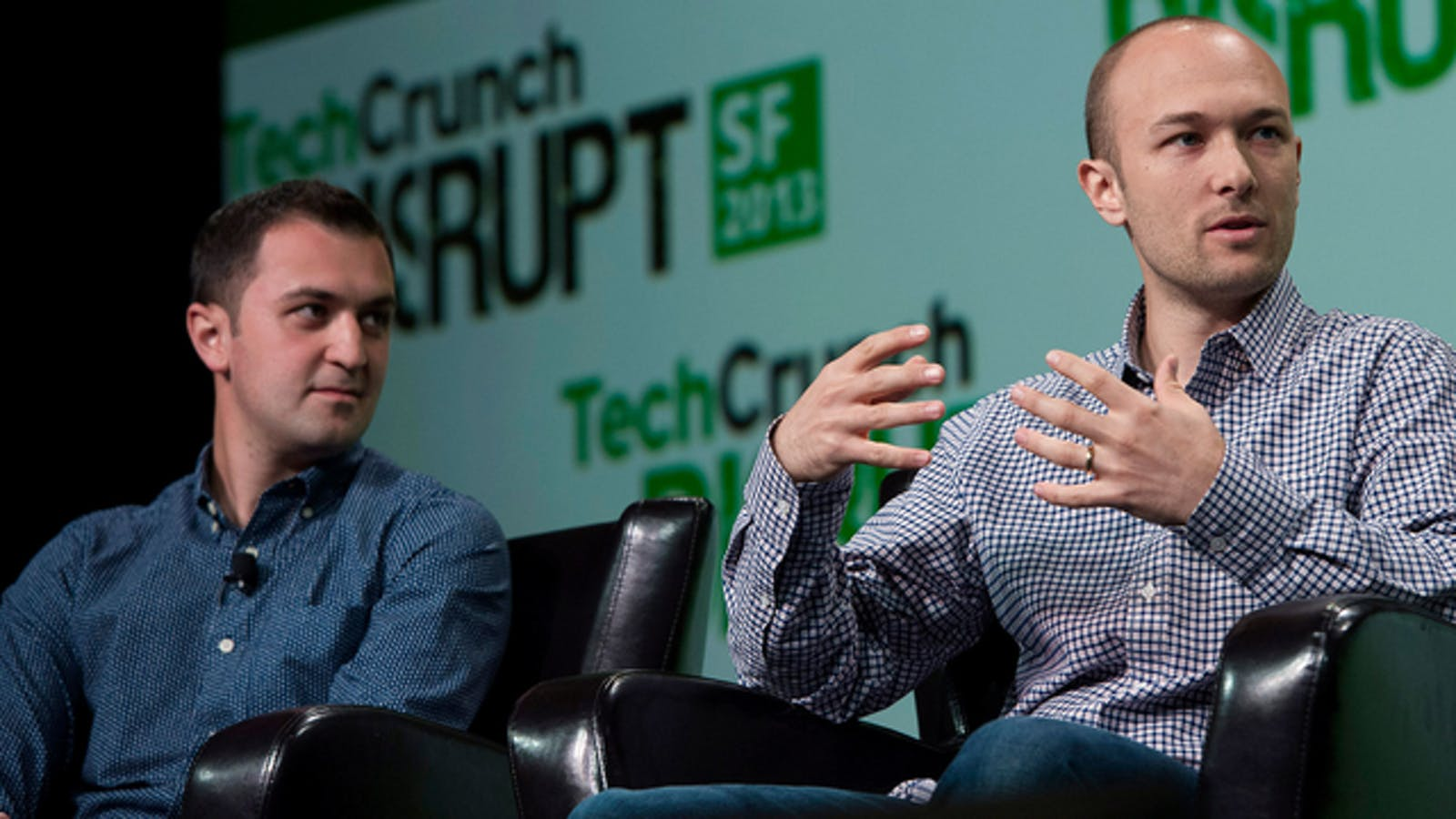 Lyft founders John Zimmer and Logan Green. Photo by Bloomberg.