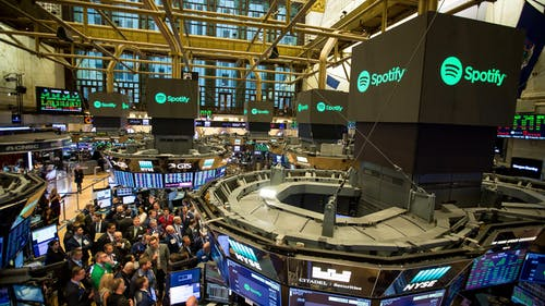 The New York Stock Exchange on the day that Spotify went public. Photo by Bloomberg.