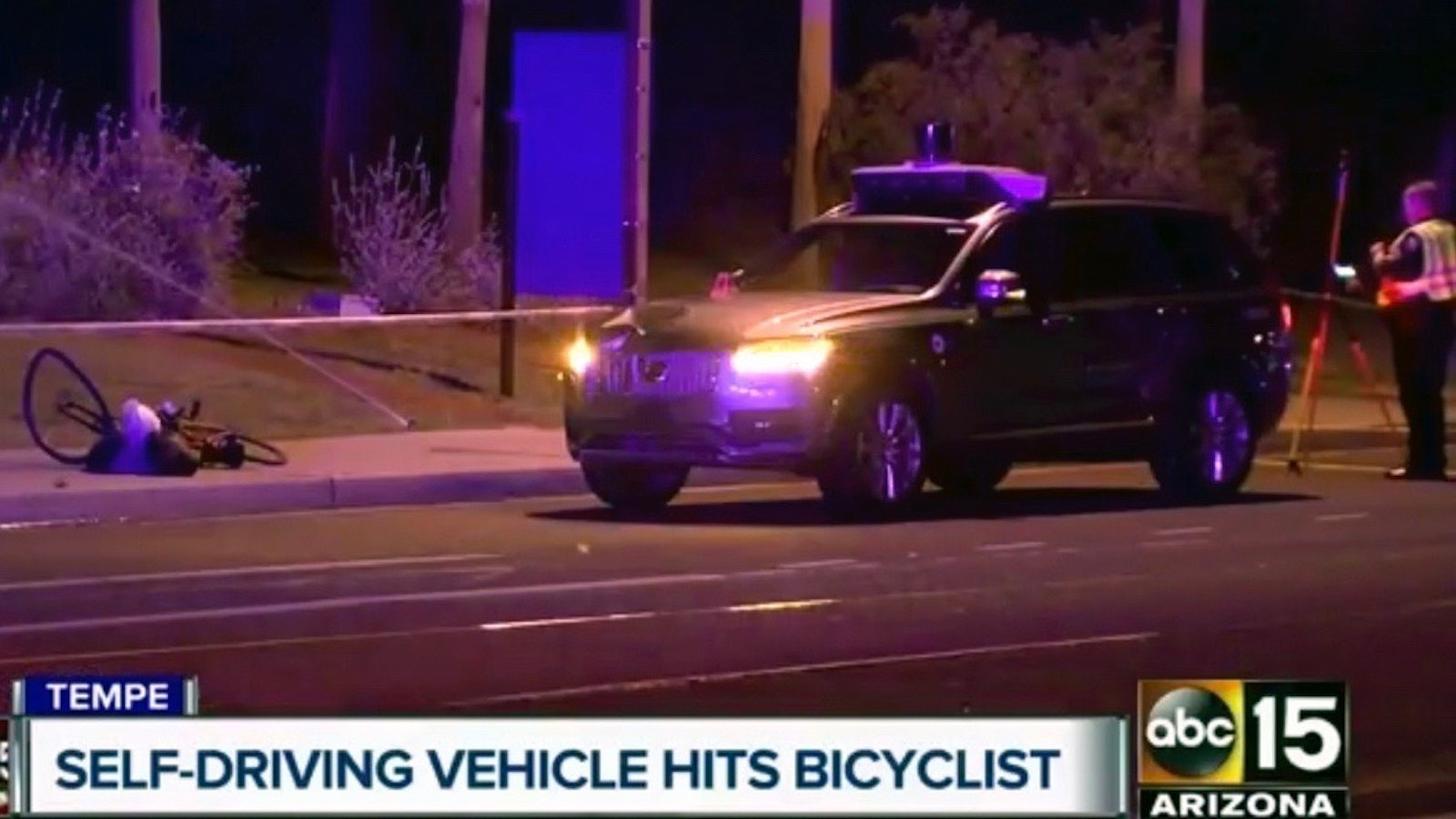 A shot from an ABC TV station in Tempe, Arizona, after an Uber self-driving car killed a pedestrian. Photo by AP.