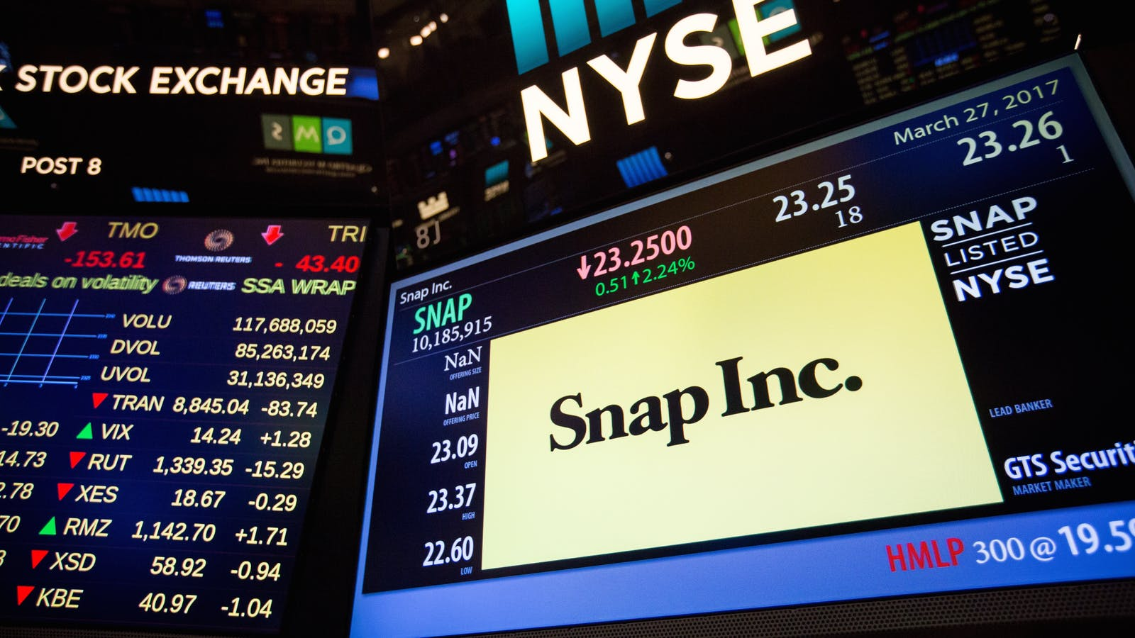 Snap stock details on display at the New York Stock Exchange last year. Photo by Bloomberg