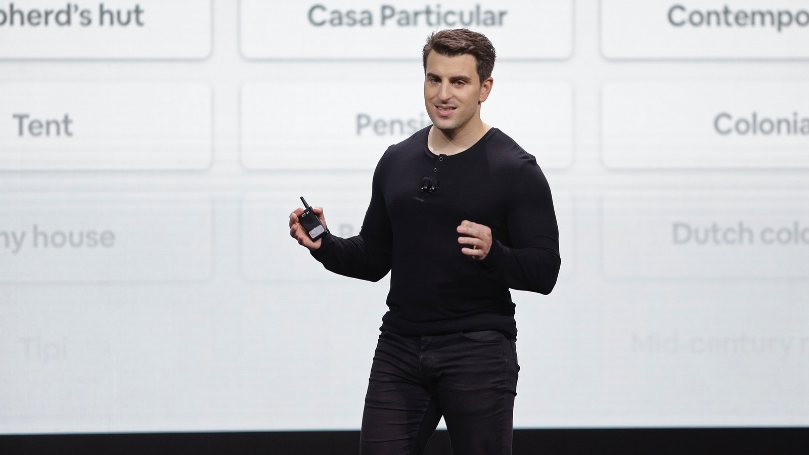 Airbnb CEO Brian Chesky speaking at an event in San Francisco in February. Photo: AP