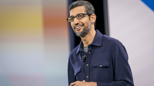 Google CEO Sundar Pichai at an event last month in San Francisco. Photo by Bloomberg