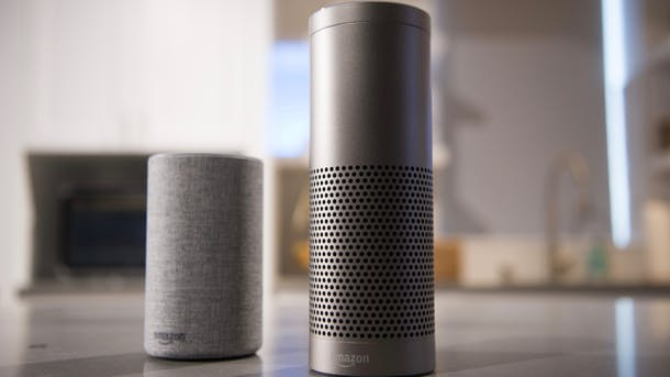 Amazon's Echo and Echo Plus devices. Photo by Bloomberg