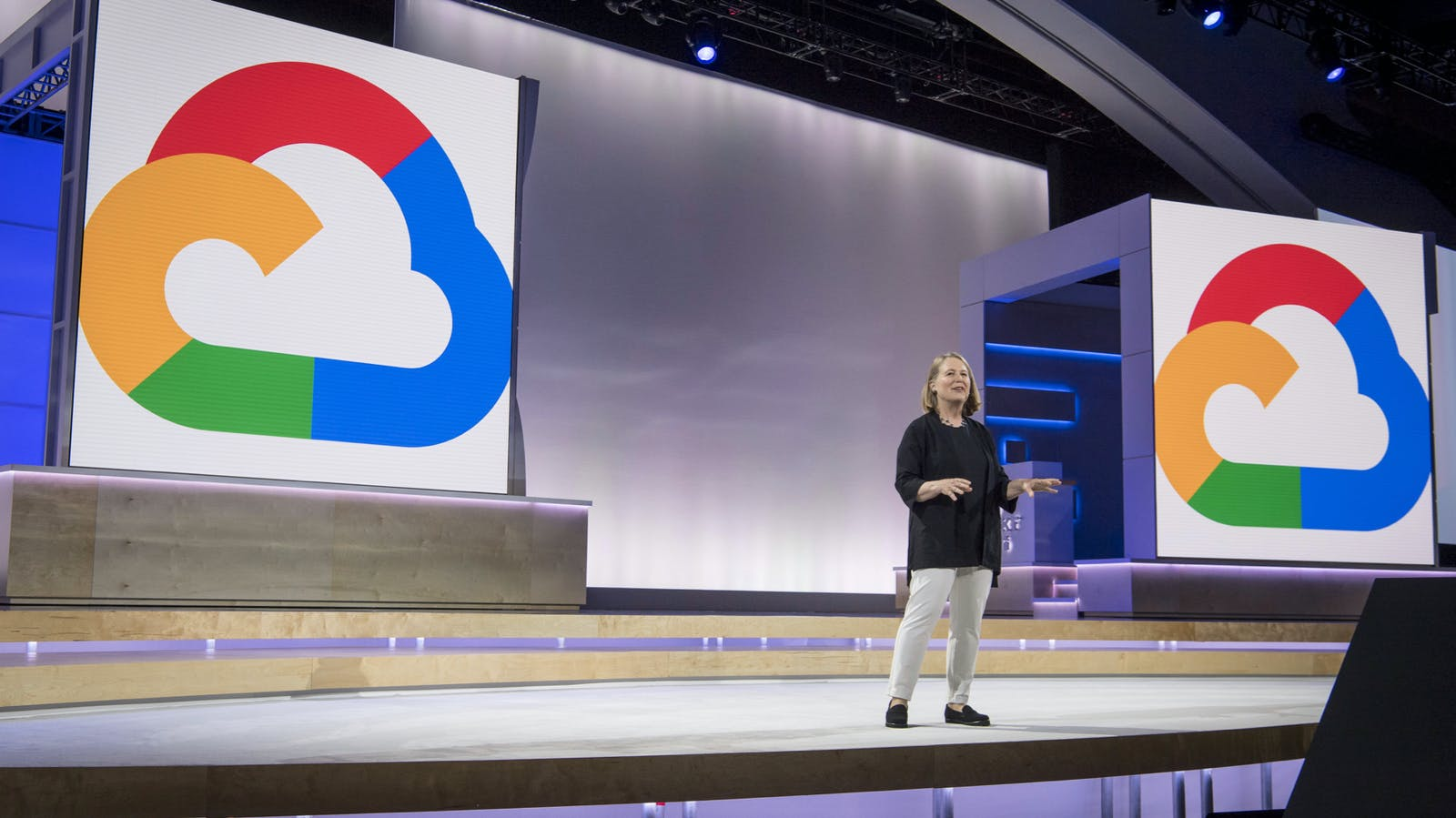 Diane Greene, CEO of Google Cloud, speaking at an event in July. Photo by Bloomberg