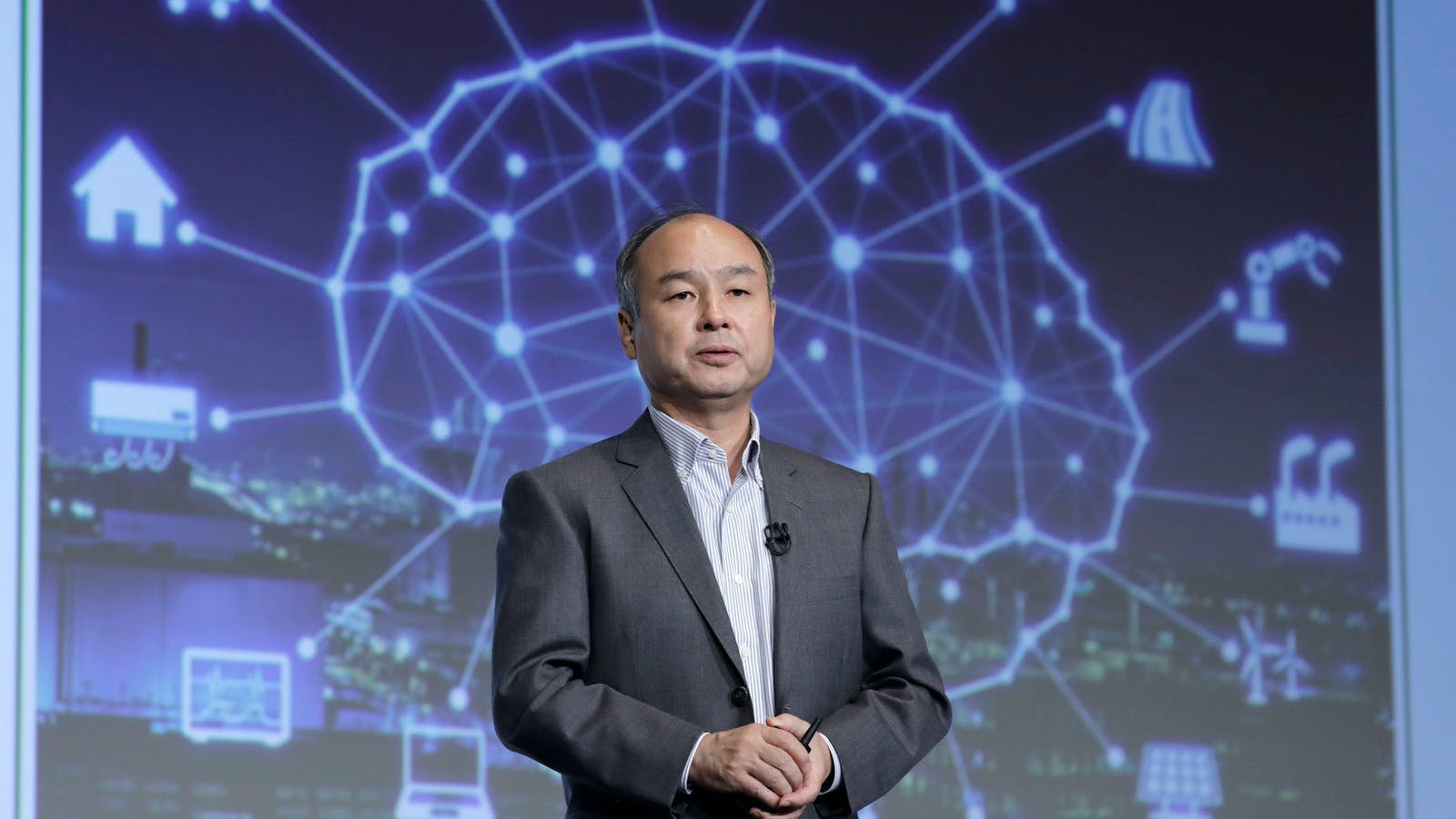 SoftBank Chairman and CEO Masayoshi Son, at a news conference in Tokyo, in August. Photo: Bloomberg